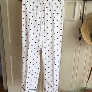 J Crew Pajama Bottoms -S cotton white w/blk bows